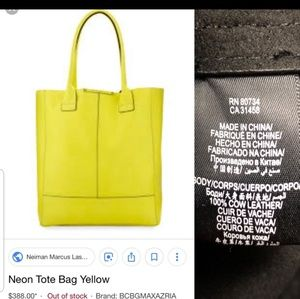 BCBG Neon Yellow Pebbled Leather Tote Bag